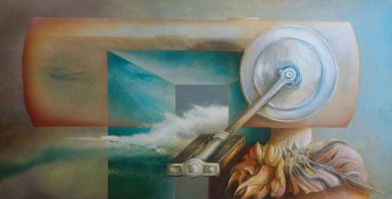 Donna Cibernetica, 2016 - olio su tela, 50x100cm