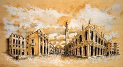 Piazza dei Signori - tecnica mista su legno, 150x100cm