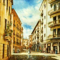 Constra' San Silvestro - olio su tavola, 50x50cm