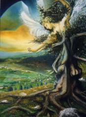 Angelo sui Sette Comuni - olio su tavola, 150x100cm