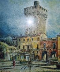 Piazza Castello - olio su tela, 60x50cm