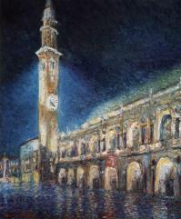 Piazza dei Signori di notte - olio su tela, 60x50cm