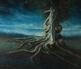 Albero di notte - olio su tela, 120x100cm