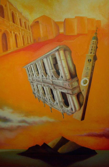 Città essenziale, 2005-2006 - olio su tela, 150x100cm