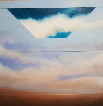 """Rivisitazione """"Incontri"""", 2019 - olio su legno, 50.5x48.5cm"""